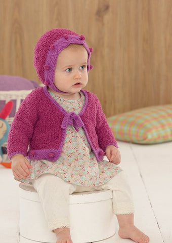 Baby Girls Cardigan, Bonnet, Shoes and Blanket in Sirdar Snuggly Snowflake Chunky and Snuggly DK (4650)-Deramores