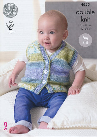 Slipovers and Waistcoats in King Cole Splash DK (4655)