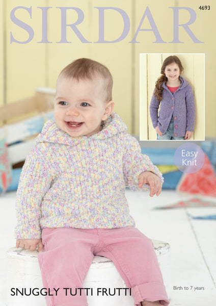 Hooded Cardigan and Sweater in Sirdar Snuggly Tutti Frutti (4693)-Deramores