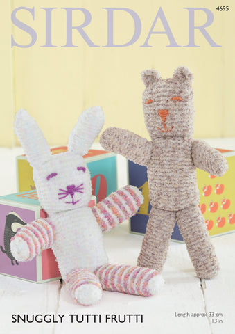Bear and Rabbit in Sirdar Snuggly Tutti Frutti (4695)-Deramores