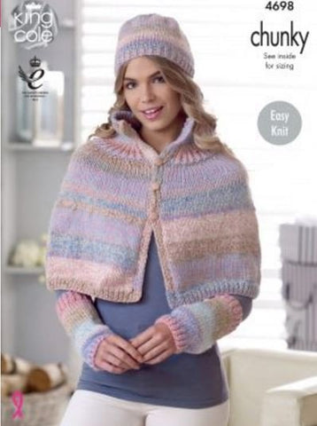 Cape, Shoulder Wrap, Hat & Wrist Warmers in King Cole Cotswold Chunky (4698)-Deramores
