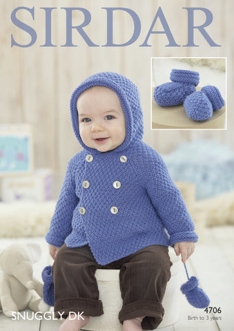 Baby Boy's Coat, Mittens and Bootees in Sirdar Snuggly DK (4706P) - Digital Version