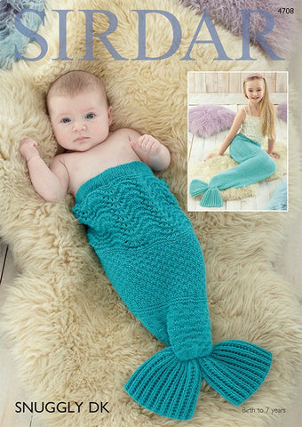 Mermaid Tail Snugglers in Sirdar Snuggly DK (4708) - Digital Version