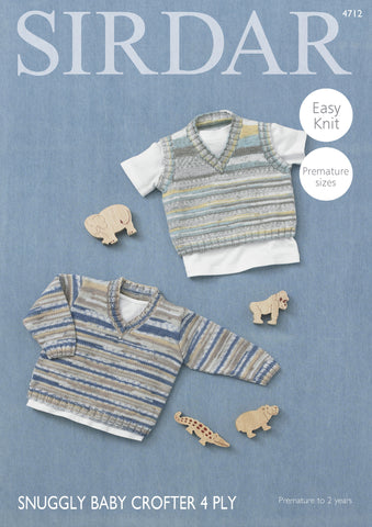 Boy's V Neck Sweater And Tank Top In Sirdar Snuggly Baby Crofter 4 Ply (4712) - Digital Version