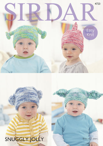 Baby and Child's Hats in Sirdar Snuggly Jolly (4723) Digital Version