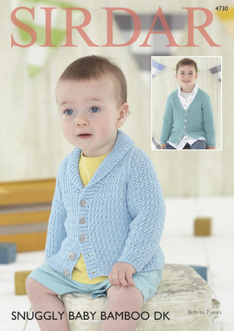 Boy's Shawl Collar and V Neck Cardigans in Sirdar Snuggly Baby Bamboo DK (4730) Digital Version