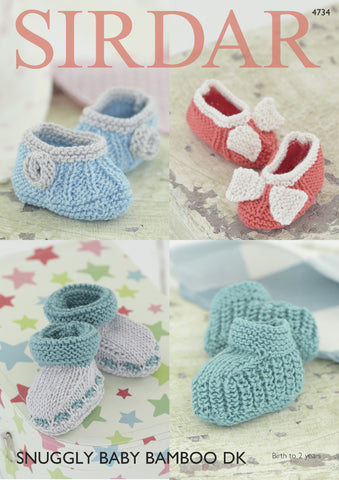 Bootees and Shoes in Sirdar Snuggly Baby Bamboo DK (4734) Digital Version