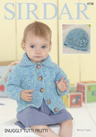 Cardigan and Hat in Sirdar Snuggly Tutti Fruitti (4738) Digital Version