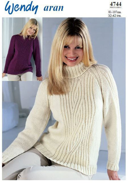 Raglan Sweater with Crew or Polo Neck in Wendy Aran (4744) Digital Version