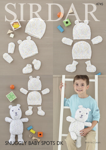 Hats, Mittens, Bootees And Bootee Bear In Sirdar Snuggly Baby Spots Dk (4745) - Digital Version