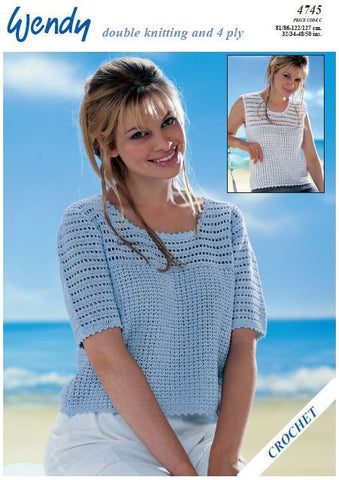 06156a7df2296 Crochet Short Sleeve and Sleeveless Top in Wendy Supreme Luxury Cotton D.K.  and 4 Ply (
