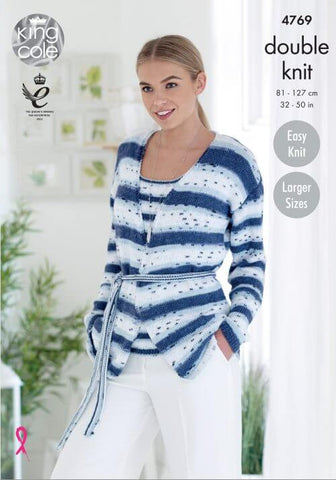Ladies' Cardigan & Top in King Cole Cottonsoft Crush DK (4769)