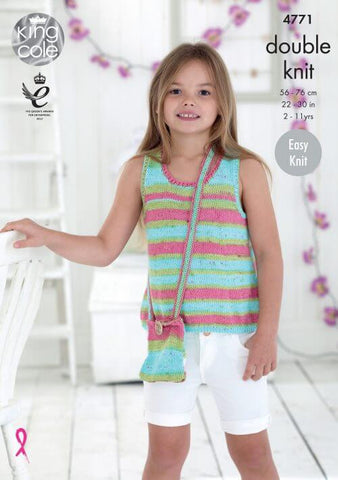 Girls' Tops in King Cole Cottonsoft Crush DK (4771)
