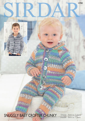 Hooded Onesie and Hooded Jacket in Sirdar Snuggly Baby Crofter Chunky (4780)-Deramores