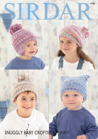 Hats in Sirdar Snuggly Baby Crofter Chunky (4781)-Deramores
