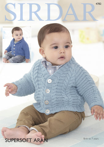 Boy's Cardigans in Sirdar Supersoft Aran (4782) Digital Version