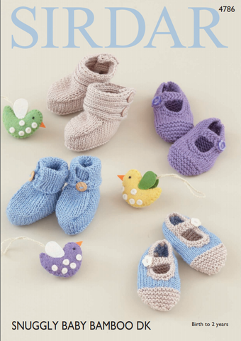 Baby Bootees & Shoes in Sirdar Snuggly Baby Bamboo DK (4786)
