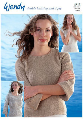 ¾ Sleeved and Sleeveless Tops in Wendy Supreme Luxury Cotton DK and 4ply (4815) Digital Version