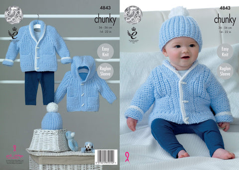 Babies' Cardigan, Hoodie and Beanie in King Cole Big Value Baby Chunky (4843)