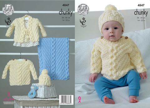 Babies' Sweater, Cardigan, Hat and Blanket in King Cole Big Value Baby Chunky (4847)
