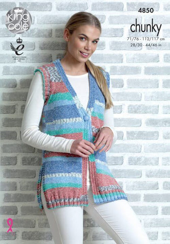 Cardigan and Waistcoat in King Cole Drifter Chunky (4850)
