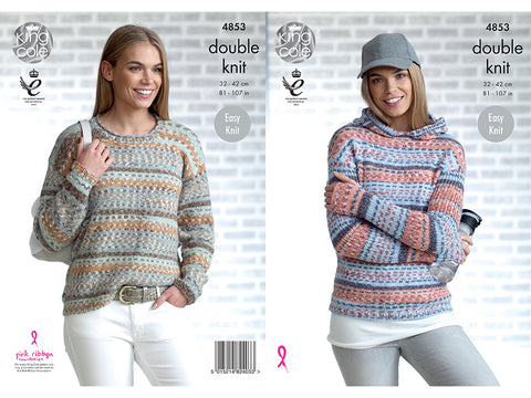 Ladies Hoodie and Sweater in King Cole Drifter DK (4853)