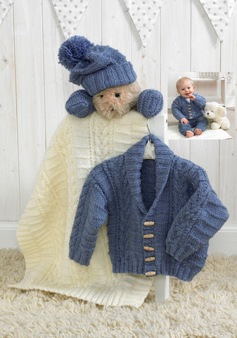 Jacket, Hat, Mittens & Blanket in Stylecraft Baby Aran (4854)