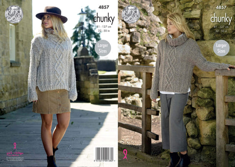 Ladies Cable Sweater in King Cole Indulge Chunky (4857)