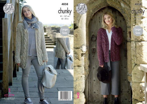 Ladies Cardigan in King Cole Indulge Chunky (4858)