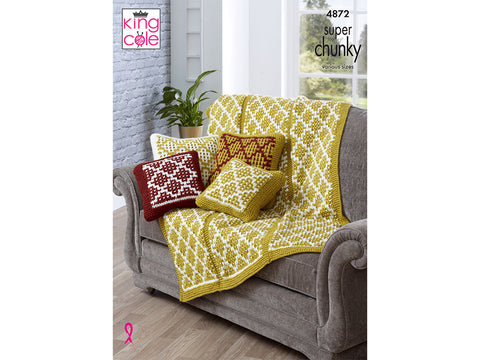 Cushion Covers and Throw in King Cole Big Value Super Chunky (4872)