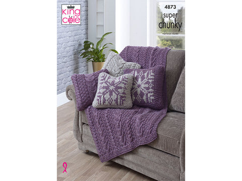 Throw & Reversible Cushion Covers in King Cole Big Value Super Chunky (4873)