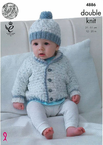 Jacket, Cardigan, Matinee Coat and Hat in King Cole DK (4886)