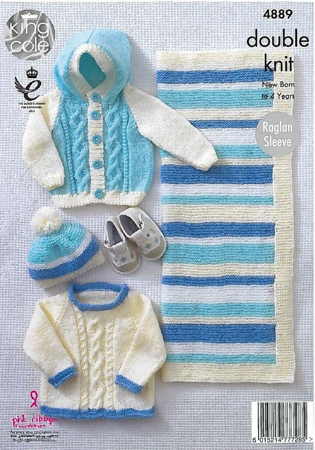 Sweater Jacket Hat And Blanket In King Cole Dk 4889