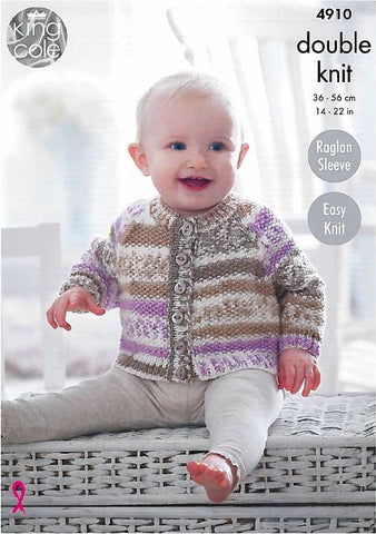Moss Stitch Baby Raglan Cardigans and Sweater in King Cole Cherished (4910)