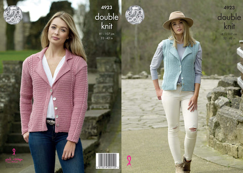 Ladies' Cardigan & Waistcoat Knitted in Majestic DK (4923)