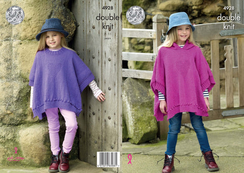 Girls' Ponchos Knitted in Majestic DK (4928)