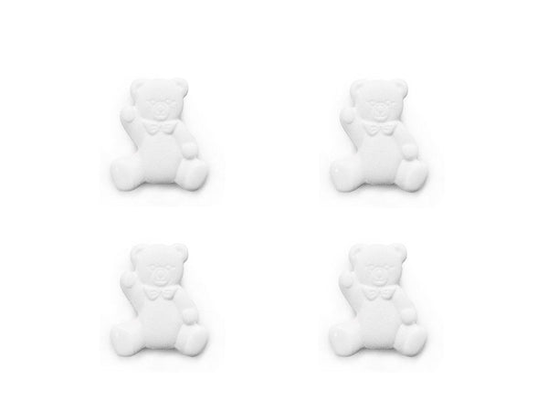 Teddy Bear Shaped Buttons - White - 016