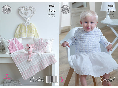Pinafore Dress, Sweater, Cardigan, Waistcoat & Blanket in King Cole Giza 4 Ply (5003)