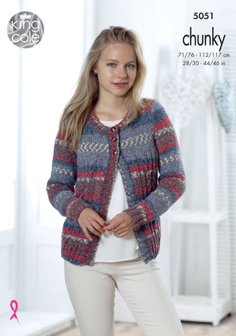 Ladies Cardigan & Waistcoat in King Cole Drifter Chunky (5051)