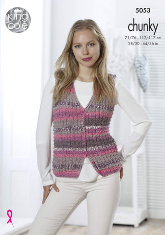 Ladies Waistcoat & Cardigan in King Cole Drifter Chunky (5053)