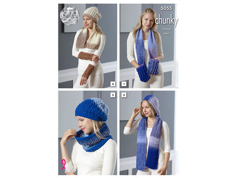 Scarf With Pockets, Hooded Scarf, Lace Cowl, Lace Scarf, Hat & Wrist Warmers in King Cole Carousel Chunky (5055)