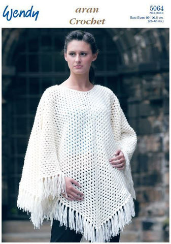 Crochet Poncho in Wendy Aran with Wool (5064) Digital Version-Deramores