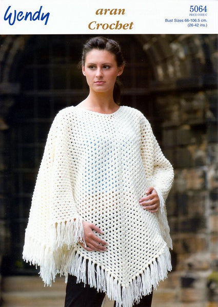 Crochet Poncho in Wendy Aran with Wool (5064)-Deramores