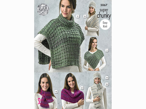 Shoulder Wrap, Shoulder Cover, Lace Triangular Wrap, Hat, Scarves and Tabbard in King Cole Gypsy Super Chunky (5067)
