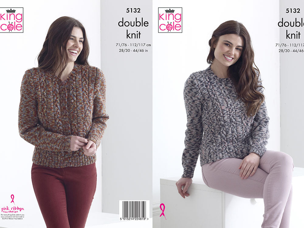 """dk /& 4ply 3205 32-42/"""" King Cole tricot Motif: Mesdames Cardigan"""