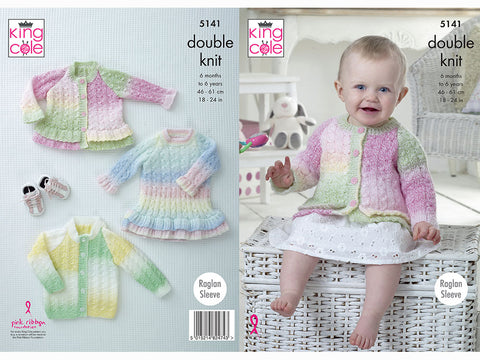 Cardigans & Dress in King Cole Melody DK (5141)