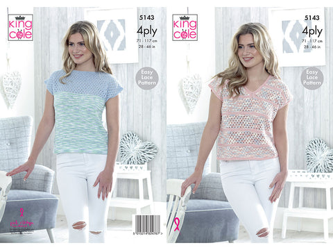 V-Neck & Wide Neck Tops in King Cole Giza Cotton & Giza Sorbet 4Ply (5143K)