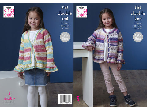 Girl's Cardigans in King Cole Splash DK (5165K)