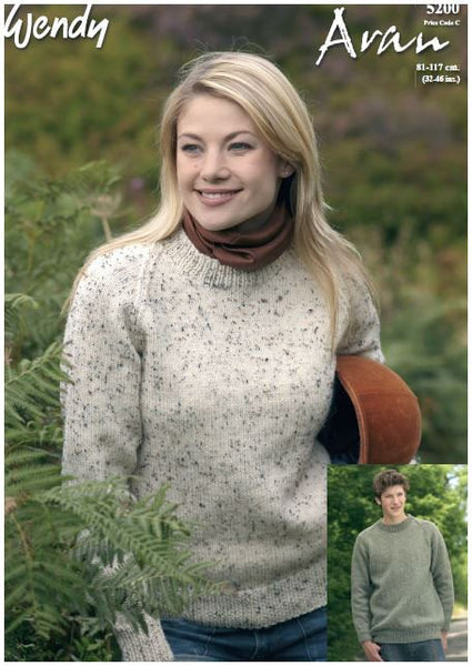 Round Neck Raglan Sweater in Wendy Aran with Wool (5200) Digital Version