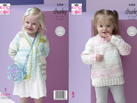 Sweater and Cardigan in King Cole Comfort Cheeky Chunky (5208)